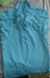 Girls friled collar sky blue school polo t-shirts.