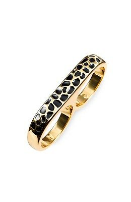 (NWT Erica Anenberg  22k Gold Plated Brass Leopard Twosome Ring Sz 5/6)