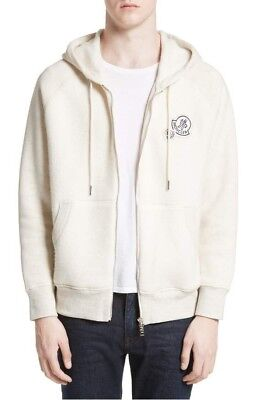 Moncler Maglia Cardigan Front Zip Hooded Sweatshirt - Off White - 2XL