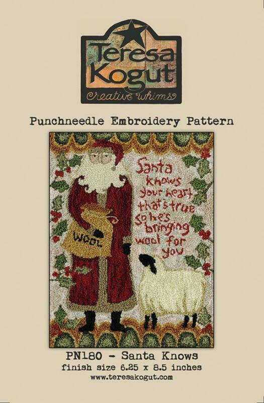 Santa Knows PN180 Christmas Punch Needle Teresa Kogut Pattern Punchneedle