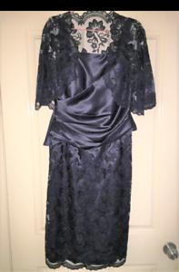 """Mother of Bride/Groom""""Jadore"""" Navy Lace & Satin Dress/Jacket S 12"""