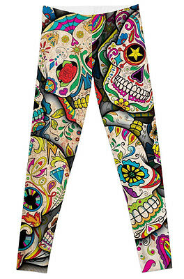 Leggings Halloween Sugar Skull PLUS Size Unicorn Day of the Dead Skeleton pants](Skeleton Leggings Plus Size)