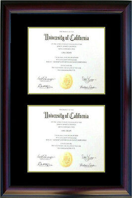 Double Diploma photo Certificate Picture FRAME cherry Black gift TP520  8.5x11