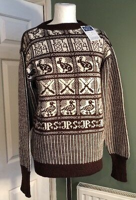 Vintage Unworn Sanquhar Knitwear Knitted Mens Game Sweater Jumper Scottish
