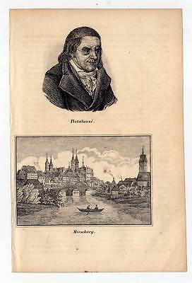 Merseburg  - Johann Heinrich Pestalozzi - Portrait-Lithographie 1840 Selten!