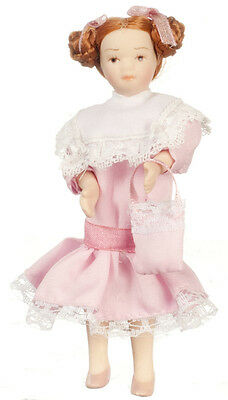 Dollhouse Miniature Doll Girl Sister Pink Dress Porcelain 1:12 Scale