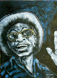 Lightnin' Hopkins Texas Po' Sam Guitar Blues Folk Art Painting on Linen canvas