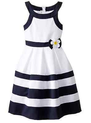 Bonnie Jean Big Girls Nautical Dressy  Striped Navy Banded Sring  Dress 7 16