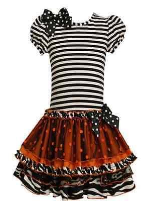 Bonnie Jean Girls Orange Black Halloween Bow Holiday  Pumpkin Dress 4 6 7 8 - Bonnie Jean Halloween 8