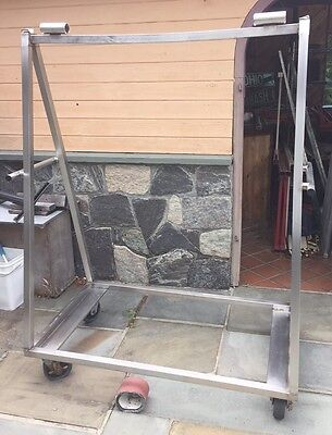 Heavy Duty Stainless Steel Hanging Meat Inspection Carts With Trays On Wheels