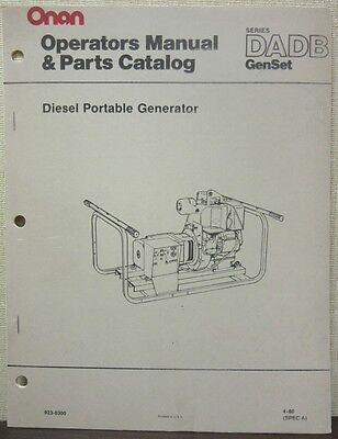 Onan Dadb Series Genset Diesel Portable Generator Operators Manual Parts Cat.