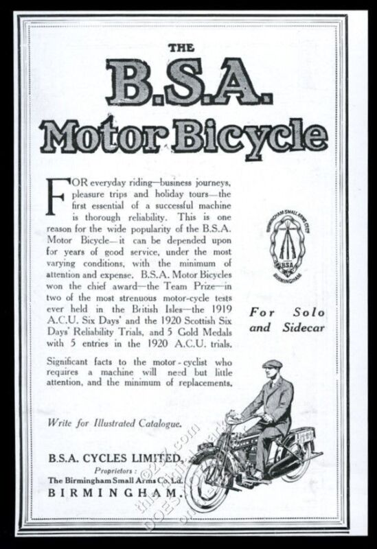 1920 BSA motorcycle illustrated UK vintage print ad