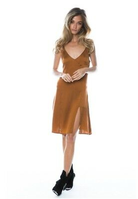 NWT $179 Arnhem Venus Silk Stretch Slip Dress Size 12 Bronze