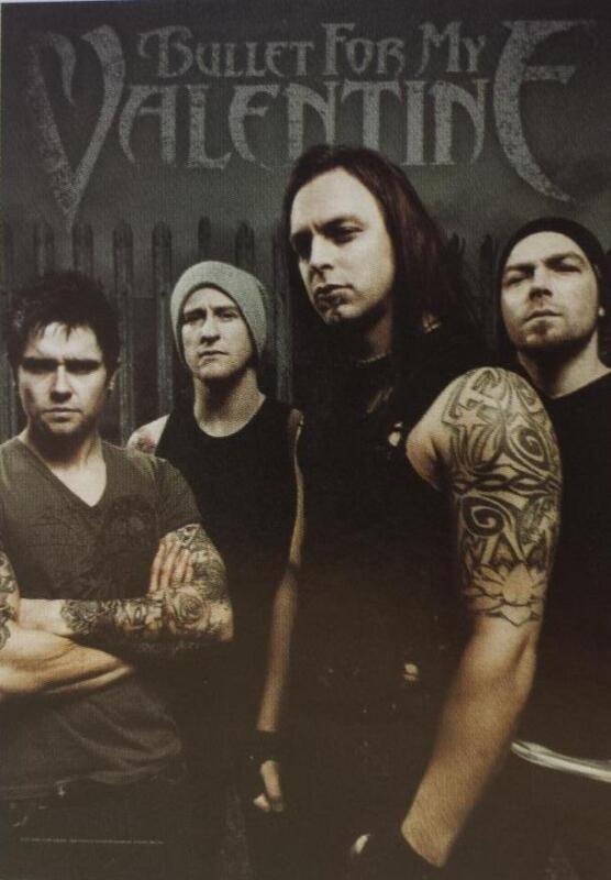 """BULLET FOR MY VALENTINE Flag/ Tapestry/ Fabric Poster  """"Band Photo""""    NEW"""