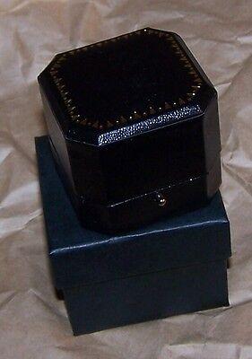 Leatherette Cut Corner (Black Cut Corner Leatherette Earring Pin Jewel Token Coin Display Gift Box)