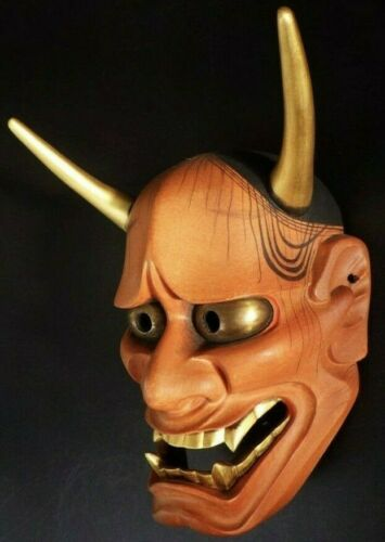 "High Quality SIGNED Wooden Noh Mask  ""Red"" Hannya (能面 赤般若) by 能面師 玄竹"
