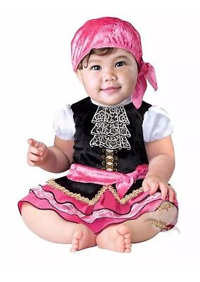 Infant Pirate Costume 12-18 Months Pink Baby Head Scarf Accessory Included New - 18 Month Pirate Costume