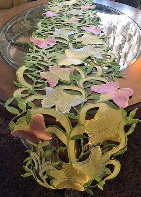 "Butterfly Garden Spring Decor Table Runner Cutwork Sage Green 67""x 12"""
