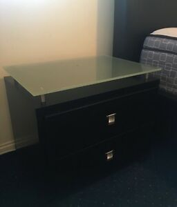 2 x black bedside tables with frosted glass top Robina Gold Coast South Preview