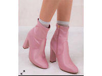 BRAND NEW Pink size 5 satin boots