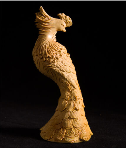 Fine Chinese Boxwood handwork carving Phoenix figure statue