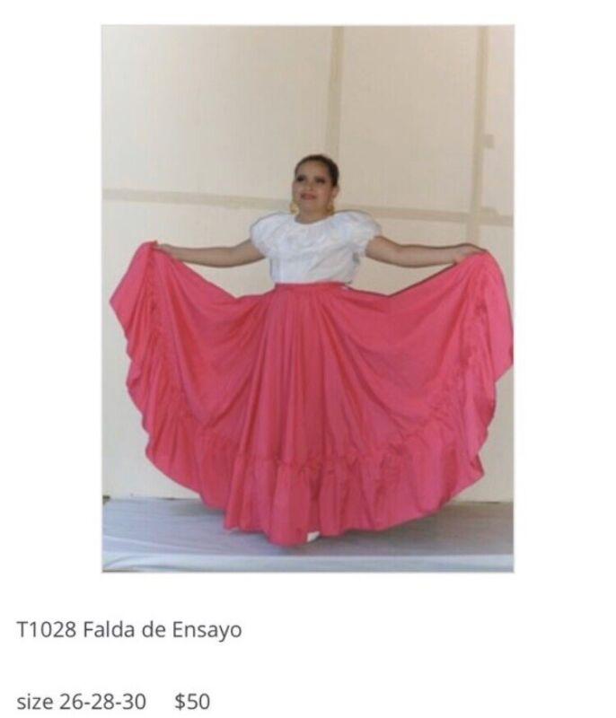 Girls Jalisco Super Wide Skirt Flow For Folklorico Dance Handmade