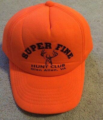 a065192c8ae Vintage Blaze Orange Hunting Hat Cap Super Fine Hunt Club Glen Allen Va  SnapBack