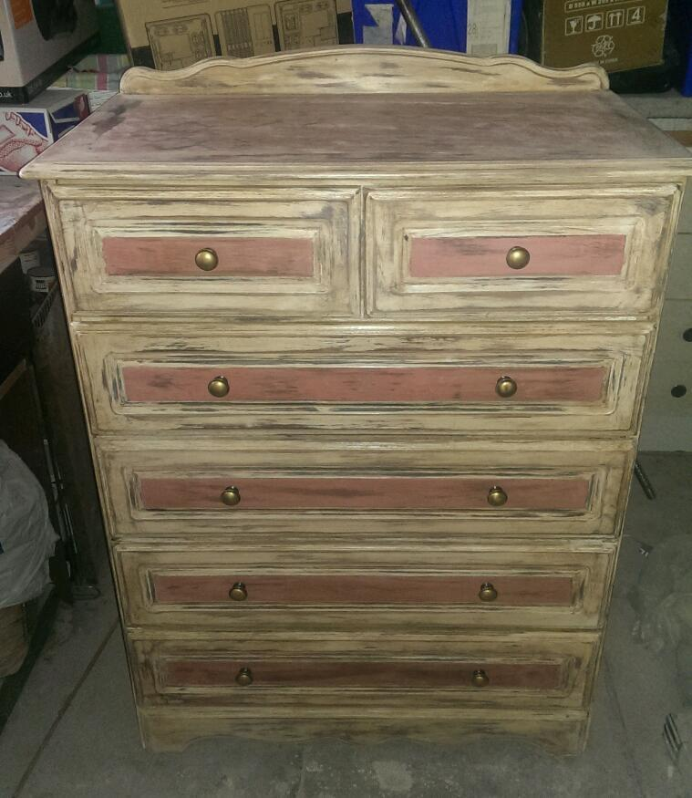 shabby chic chest of drawers pastel pink and white sanded