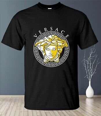 Hot !! 2020Versace Medusa Gold Logo T-Shirt Gildan Full Size S-5XL