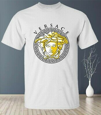 Hot !! 2020Versace Medusa Gold Logo Gildan T-Shirt Black & White Size S-5XL -USA
