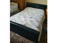 Black Faux Leather Double Bed including free mattress - originally bought for £450