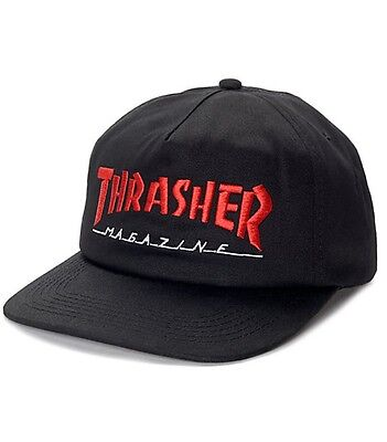 Thrasher Magazine Logo TWO TONE Snapback Skateboard Hat BLACK RED NEW IN PLASTIC