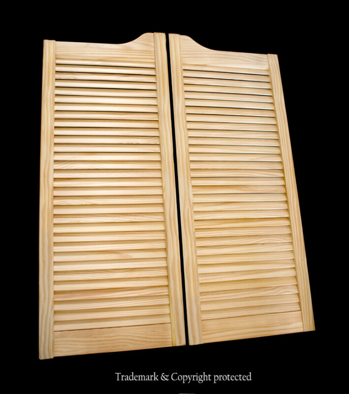 "CAFE DOOR PINE LOUVERED 28""W Saloon Swinging Pub Bar Western with Gravity Hinges"