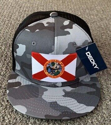 State Of FLORIDA Flag Hat CAMO SnapBack Trucker Mesh Cap Handcrafted in the USA! Florida State Cap