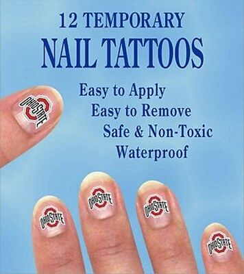 Ohio State Buckeyes Finger Nail Decals Temp Tattoos Set of 12 NCAA Licensed ()