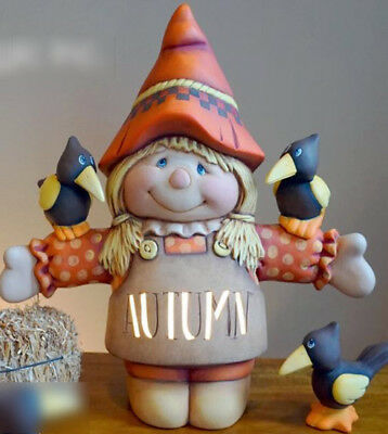 """Ceramic Bisque Ready to Paint """"Jessie the Scarecrow and 2 crows"""" electric incl."""