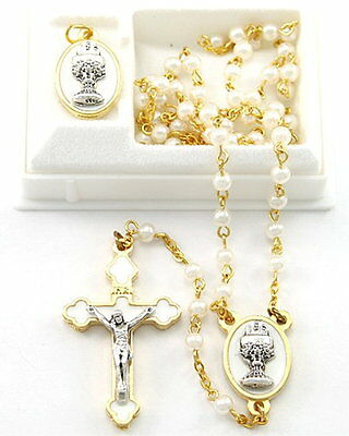NEW MADE IN ITALY WHITE GLASS PEARL & GOLD PLATED COMMUNION ROSARY GIFT SET
