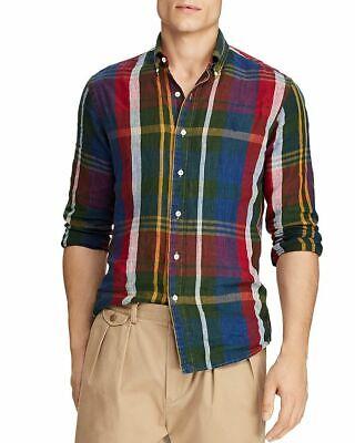 POLO RALPH LAUREN Mens Indigo YALE Classic Fit Plaid Linen Shirt 710742154001 M