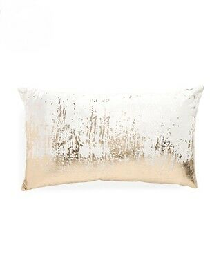 Gold Decorative Toss Pillow - CALLISTO HOME Ivory Velvet w/ Gold Foil Down Decorative Toss Pillow 14