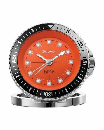 Bulova Orange Stainless Steel Diver Snorkel 666 Travel Alarm Watch B6127
