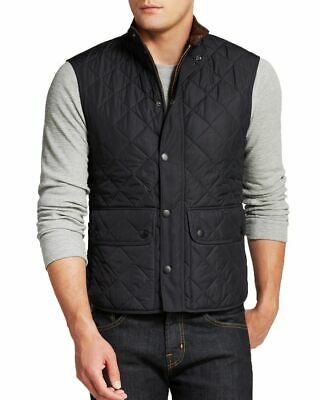 Preowned Barbour Men Navy blue color Lowerdale Quilted Gilet Full Zip Vest. XXL