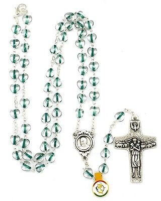 NEW MADE IN ITALY POPE FRANCIS GREEN GLASS HEART ROSARY NECKLACE VEDELE CROSS