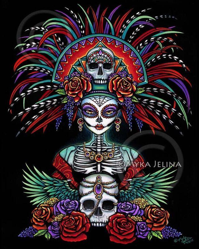 Sugar Skull Signed Print Dia De Muertos Festival Mictecacihuatl Beautiful Bones