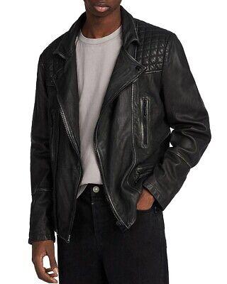 All Saints Cargo Leather Jacket - Black Grey - Medium
