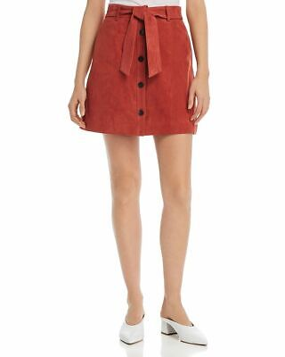 JOIE Neida Women's Skirt Size 0 Desert Spice Suede Leather A Line Belted $398