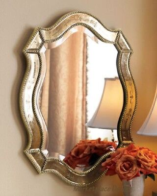 French Gold Wall (Venetian Style Wall Mirror Antiqued Gold Etched Shabby French Chic Beaded Edges )