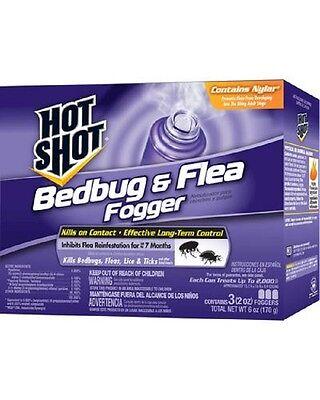 NEW HOT SHOT HG-95911 PACK OF (3) 4OZ BEDBUG BUG & FLEA INSECT FOGGERS 6211320