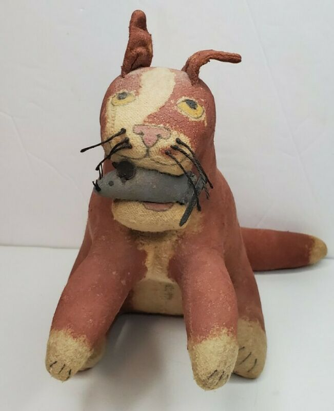 Vintage Primitive Cat with Mouse Stuffed Stiffened Fabric Folk Art, signed 1994