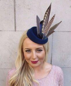 a94cc699caa00 Navy Blue Brown Pheasant Feather Pillbox Hat Hair Fascinator Races Clip Vtg  4016