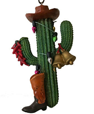 Cute Cowboy Saguaro Cactus Christmas Tree Ornament with Chili Peppers - fun gift - Cactus Christmas Tree